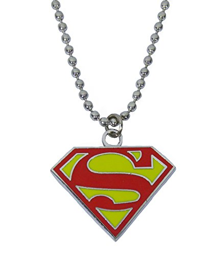 Superman Pendants Necklace Dog Tag Red and Yellow Shield Finished. (Supergirl Halloween)
