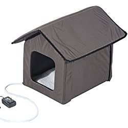 Pawhut Outdoor Heated Cat House - Brown