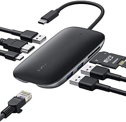 Amazon.com: Aukey - Hub USB C 8 en 1 tipo C con puerto ...