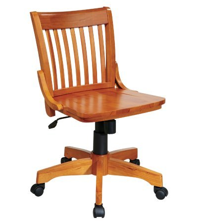 picture of 101 Deluxe Armless White Wood Bankers Desk Chair with Wood Seat