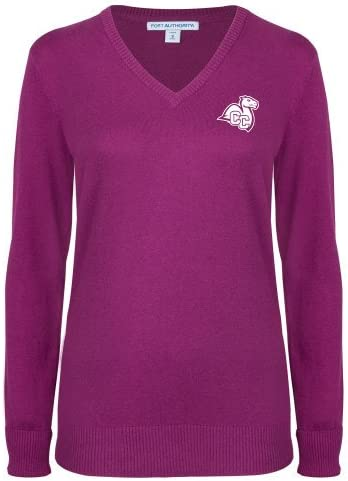 Connecticut College Ladies Deep Berry V Neck Sweater Camel with CC