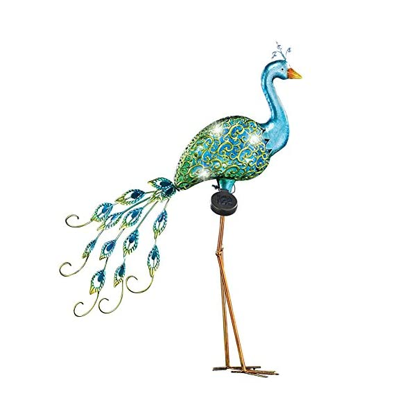 Peacock-Metal-Outdoor-Garden-Sculpture-with-Solar-Lights-Stakes-into-Ground