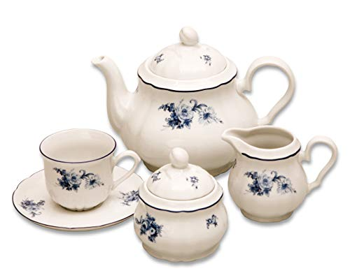 Elegant Porcelain Tea Serving Set ROSE II.- 6x cup with saucer, 1x tea pot with lid, 1x sugar bowl with lid, 1x milk pot, decorative china coffee full serving set ()
