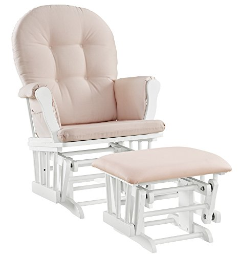 Angel Line Windsor Glider and Ottoman Cushion Set, White with Pink (Sale Chairs Online For)