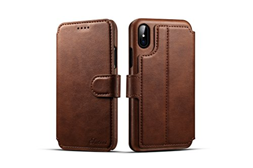 iPhone X Wallet Case,TACOO Genuine PU Leather Magnetic Closure Protective Kickstand Flip Card Slot 360 Full Protection Flip Cover for Apple iPhone 10 2017 (Brown) (Hello Kitty Neo Phone)