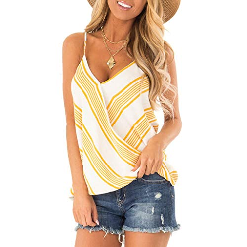(ClaystyleWomen's Casual Loose Hollowed Out Shoulder Three Quarter Sleeve Shirts Yellow)