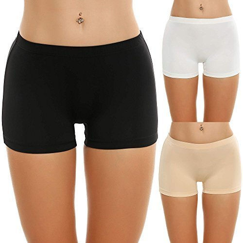- Ekouaer Boyshorts Panty Woman Low-Rise No Show Underwear, Black/White/Nude, Medium