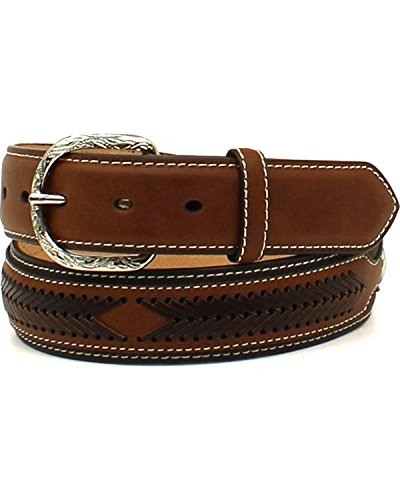 Nocona Men's Leather Laced Overlay Belt Black (Nocona Leather Jeans)