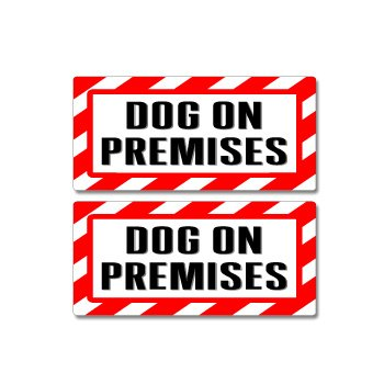 Decal Warning Set (Dog On Premises Sign - Alert Warning - Set of 2 - Window Business Stickers)