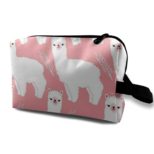 Makeup Case, Travel Makeup Train Case Pouch Multi-Purpose Clutch Bag, Large Capacity Makeup Pouch Pen Box Organizer, (Lovely Alpacas Pink), Women Girl Portable Gift