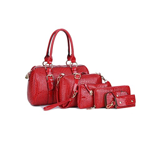 Samaz Fashion Women Pu Leather Handbag Shoulder Bag Tote Bag Purse Bags 6pcs Set (red)