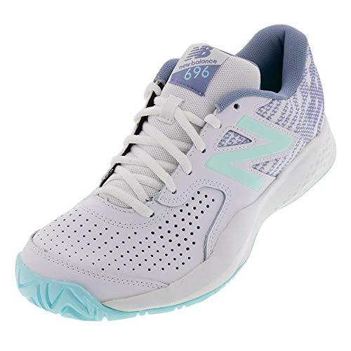 New Balance Women's 696v3 Hard Court Tennis Shoe, White/Light Reef, 8.5 B US