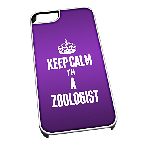 Bianco cover per iPhone 5/5S 2722 viola Keep Calm I m A Zoologist