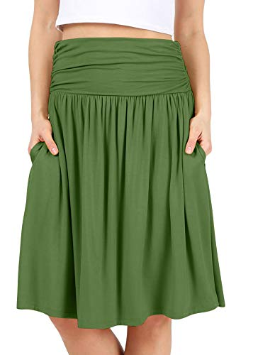Womens Regular and Plus Size Skirt with Pockets Knee Length Ruched Flowy Skirt - Made in USA (Size Large US 8-10, ()
