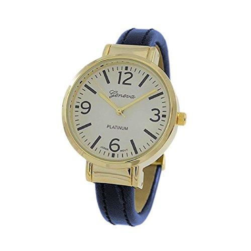 Rosemarie Collections Women's Round Face Vegan Leather Cuff Bracelet Watch (Navy Blue) (Abercrombie Mens Bracelet)