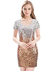 Sequin Glitter Short Sleeve Dress With V Neck
