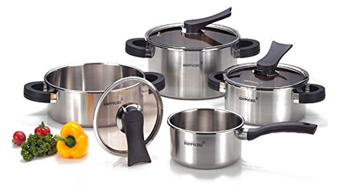 Happycall 8 Piece Dining Room Kitchen Fondue Pasta Pots Cooking Cookery Cookware Stainless Steel Pot Set Kitchen Aluminum Happy Call by Happy Call Stainless Steel Pot Set