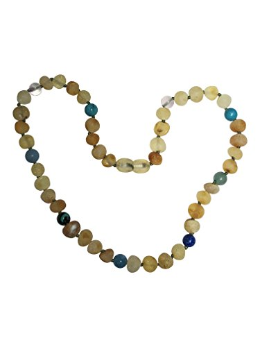 - Baltic Amber Necklace for Kids and Teens- 15 inches - Boost Immune System - for Ages 4-16 - Natural Pain Relief- Certified (Lemon Blue/Green)