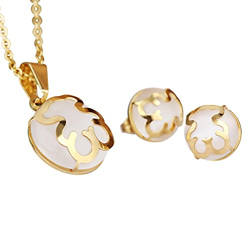 (URs Opal Gemstone Teddy Bear Necklace Pendant and Stud Earrings 18k Gold Plated Jewelry)