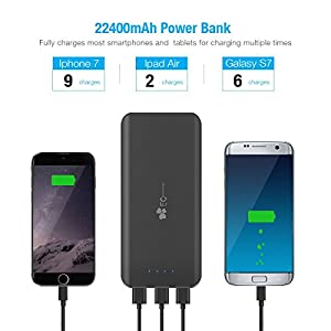 EC Technology Portable Charger Power Bank 22400mAh Ultra High Capacity External Battery pack 3 USB Output Port phone charger for iPhone, iPad, Samsung, Nexus & More, Black& Red