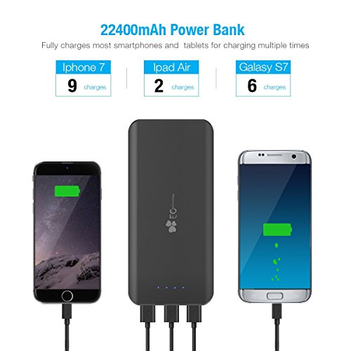"""EC TECHNOLOGY New 22400mAh Portable Ultra-high Density External Battery Pack Backup Charger For iPhone 5S 5C 5 (Lightning Adapter Not Included), 4S, 4, iPad Air, Retina iPad Mini, Samsung Galaxy S4 I9500 S4Mini I9190, S3 I9300 S3Mini I8190, S2, Note 3 N9000, Galaxy Gear, HTC Sensation One X S EVO 3D 4G DNA Thunderbolt, Incredible, Droid DNA, Google Nexus 4, Nexus 7, Nexus 10, LG Optimus V, Blackberry Z10 Bold Curve Torch, Motorola Droid Razr Maxx Bionic ATRIX, Sony Xperia Z Z1, Nokia Lumia 1020 920, Google Glasses, Also Compatible With All Other Cell Phones And Tablets(Dimension: 6.29"""" x 3.14"""" x 0.86"""" Inch)- 12-Month Warranty"""