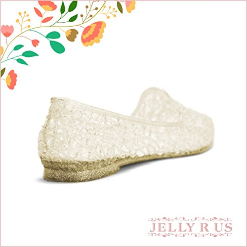 Chemistry Ginnie Mujeres New Stylish Easy Zig Zag Weaving Woven Bird Nest Mesh Cosy Candy Slip-on Jelly Loafer Ballet Sandal Flat Gold