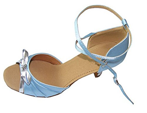Women Silver Ballroom shoes Bow blue Sky dance satin Latin ffHUwqI