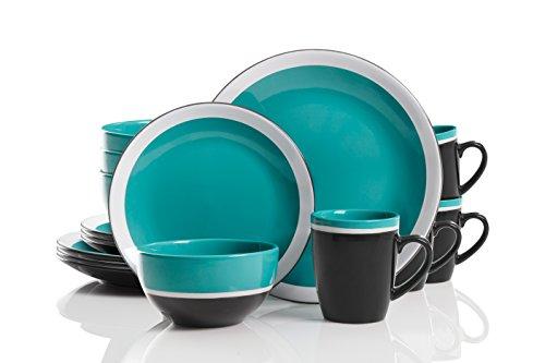Gibson Studio 114391.16RM Color Eclipse 16 Piece Dinnerware Set, Blue