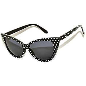 Stylish Fashion Vintage Cat Eye Sunglasses UV Protection (.Black-Dot, PC Lens)