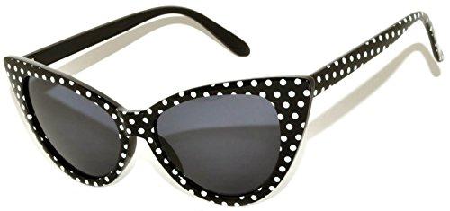 Black And White Vintage Cat Eyes Glasses (Stylish Cat Eye Vintage smoke Lens Sunglasses Black - Dots Frame)