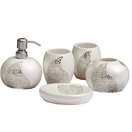 Brandream Magical Bling Bath Ensemble 5 Piece Bathroom Accessories Set,White