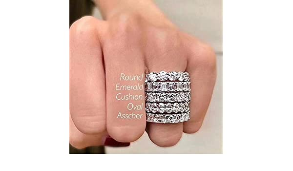 3.3ct Asscher Cut Blue Sapphire CZ 925 Sterling Silver  Engagement Promise Ring