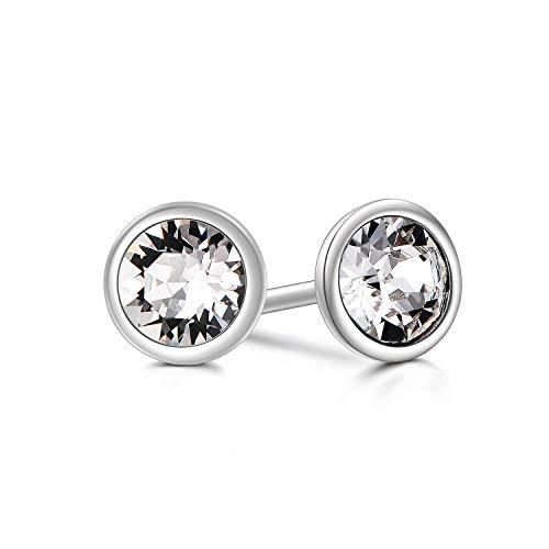 (AOBOCO 925 Sterling Silver Bezel Cubic Zirconia Stud Earrings Made With Swarovski Crystals Hypoallergenic Stud Earrings For Women Men Girls)