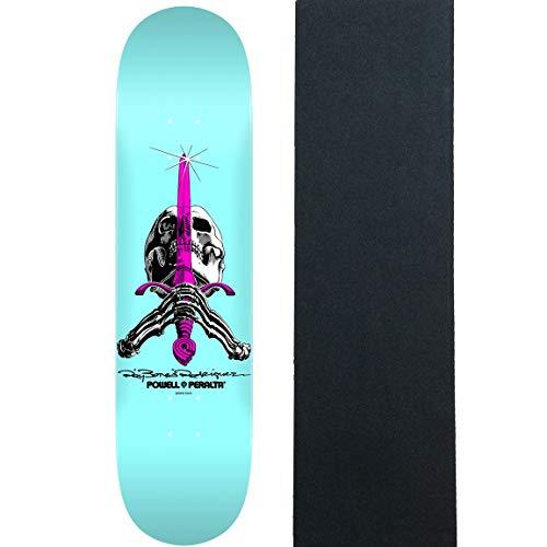Blue Skull Skateboard - Powell-Peralta Skateboard Deck Skull and Sword Pastel Blue 8