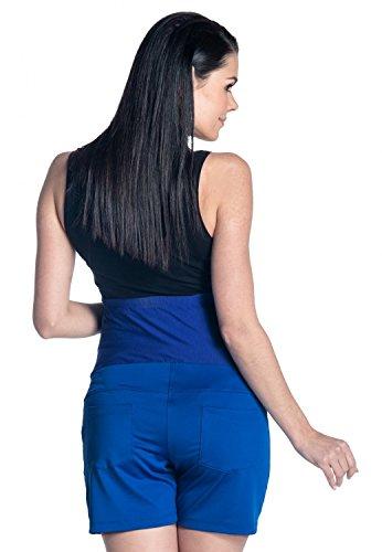 Zeta Ville - Pantalón cortos sedoso premama banda elastica - para mujer - 189c Azul Real