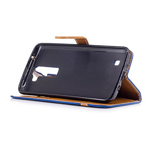Para LG K7K8 funda, (Cowboy púrpura) Dril de algodón de colores mezclados caja del teléfono móvil de cuero PU Leather cubierta Función de Soporte Billetera con Tapa para Tarjetas correa de mano soport Vaquero azul