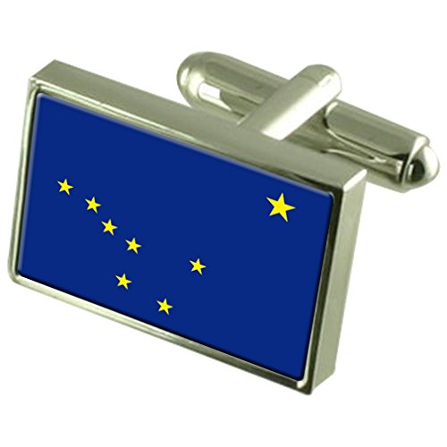 Alaska Sterling Silver Flag Cufflinks by Select Gifts