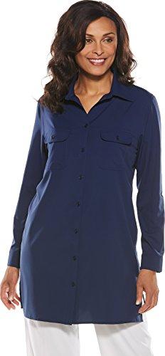 Coolibar UPF 50+ Women's Santorini Tunic Shirt - Sun Protective (2X- Royal Navy) (Best Sunglasses For Plus Size)