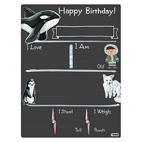 Cohas Birthday Milestone Board with Arctic Theme, Reusable Chalkboard Style Surface, and No Liquid Chalk Marker, 12 by 16 Inches, No Marker