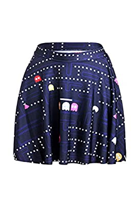 Lady Queen Women's Pacman Stretchy Flared Pleated A-Line Skater Skirt
