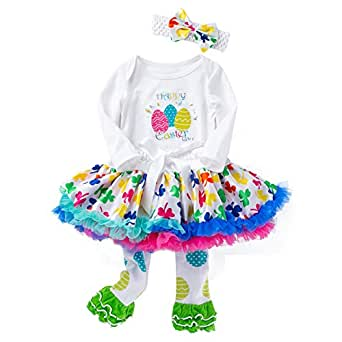 Fairy Baby 3Pcs Baby Girls Easter Outfit Clothes Set Bunny Bodysuit Tutu Lace Skirt Set Size 12M (Easter Egg)