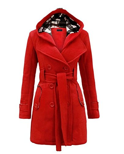 Wancy Womens Winter Check Hooded Military Double Breast Botton Plus Size Duffle Coat Jacket With Belt Red 2X-Large