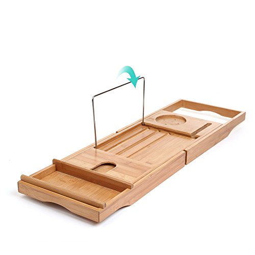 SMAGREHO Bamboo Bathtub Caddy with Extending Sides Include All Function