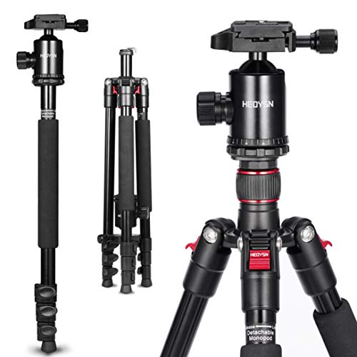 HEOYSN Camera Tripod, 64.17″ Aluminum Alloy Tripod Monopod with 360° Panorama Ball Head, Quick Release Plate for Canon Nikon DSLR Cameras, Ideal for Vlog, Travel & Work