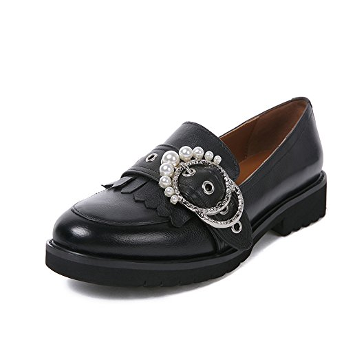 Round Shoes Heel Toe Low Loafers Ladies amp; Fringed Slip Darco Pumps Women's Dress Tassel Gianni On a Platform Leather Black qP10T