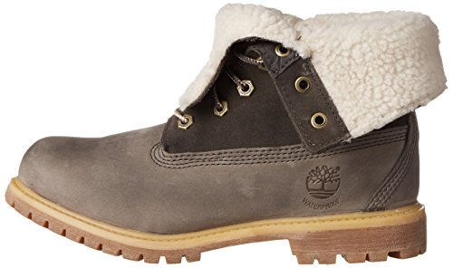 Authentics Waterproof Timberland Grey Women's Dark Down Fold Fleece Teddy Boot U4FaqFP