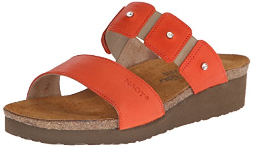 NAOT Women Ashley Wedge Sandal Orange Leather