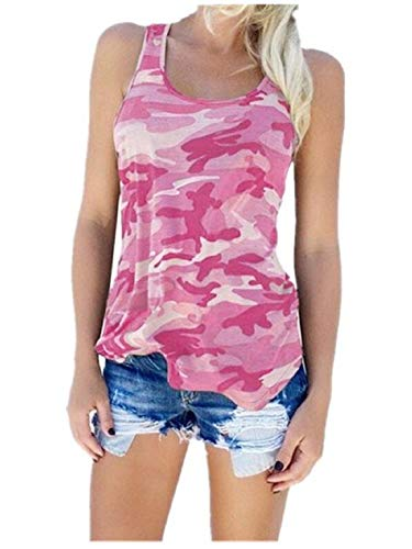 Flower999 Women's Racerback Casual Stretch Camo Shirts Camouflage Tank Tops (Medium, Pink)