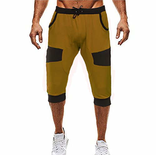 16c11a6711fc37 Coofandy Casual Elastic Waist Harem Training Jogger Sport Short Baggy Pants,  Brown, XXL