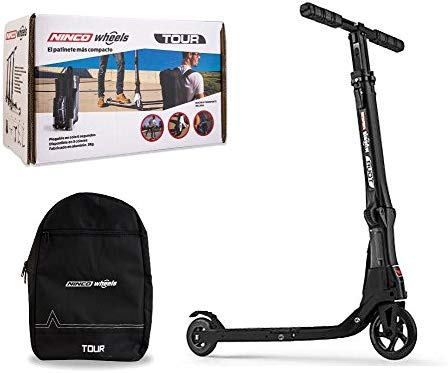 Outletdelocio. Patinete Adulto Scooter Tour Black. Aluminio. Plegable. Mochila incluida. Soporta 100 kg